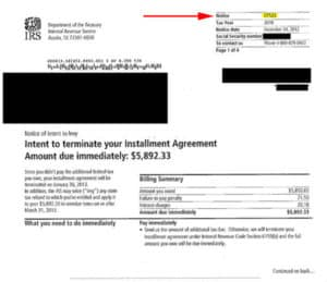 Intent to Terminate Installment Agreement